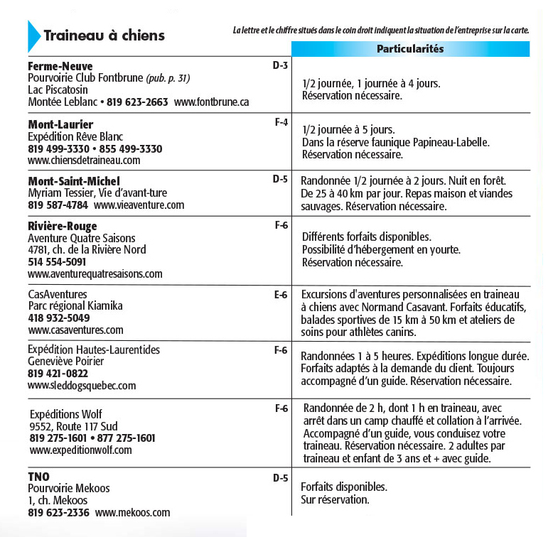 Activités uniques dans le Guide touristiques des Hautes-Laurentides